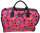 Betsey Johnson Large Nylon Weekender Duffel Bag, Fushia/Cats