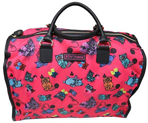 Betsey Johnson Large Nylon Weekender Duffel Bag, Fushia/Cats by Betsey Johnson