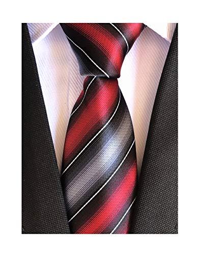 Secdtie Men's Classic Stripe Jacquard Woven Silk Tie Formal Party Suit Necktie (One Size, Red Grey) - Red Woven Silk Necktie