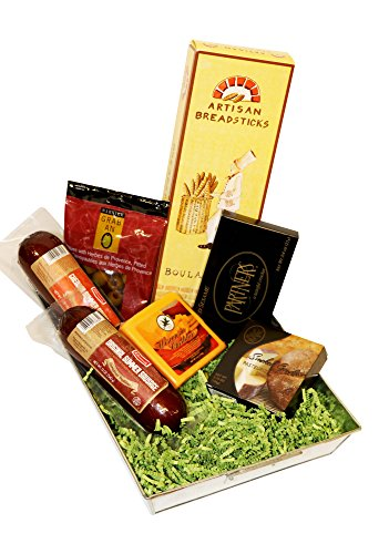 (Summer Sausage and Wisconsin Cheese Gift Baskets Tray with Klement's Meat and Cheddar and Smoked Gouda Cheeses)