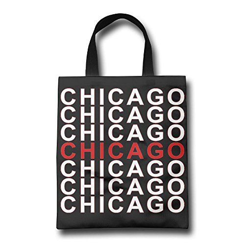 Chicago Wrinkle Free Foldable Tote Eco Grab Bag With Handles Grocery Shopping Bags Perfect For Shopping,Laptop,School - Downtown Stores Shopping Chicago