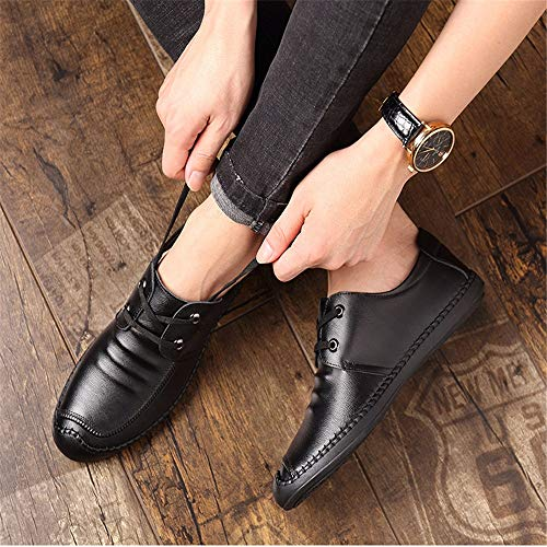 Dimensione 41 Zipper Qiusa per Nero EU uomini cuoio Loafer di Scarpe Casual gli comoda punta rotonda Business Office Colore w4wBSaqRx