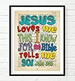 Bible page -Jesus Loves Me this I know for the Bible Tells me so - John 3:16 - Vintage verse scripture ART PRINT, UNFRAMED Christian Childrens nursery wall decor poster gift, 8x10 inches