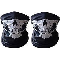 Máscara de tela con dibujo de calavera, para moto, deporte, esquí, ciclismo, Halloween (2 unidades)