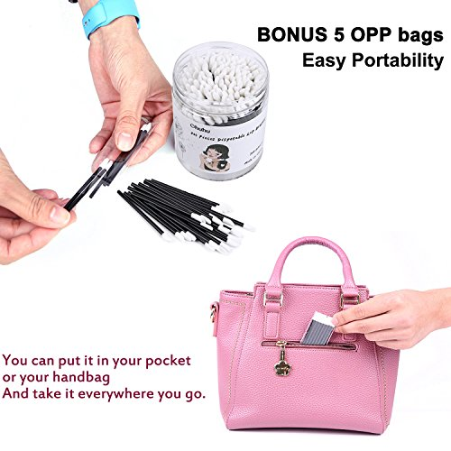 Ohuhu 200PCS Disposable Lip Brushes Lipstick Gloss Cotton Wands Applicator, Bonus 5 OPP Travel Bags