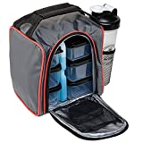 Healthy Packers Insulated Meal Prep Bag with Food Portion Control Container Set, Reusable Ice Pack, Vitamin Box and Protein Shaker Cup