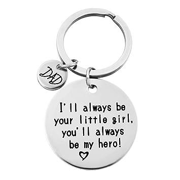 QICI Regalo del Día del Padre Llavero Joyería Llavero Regalos Navidad Keychain(ILl Always Be Your Little Girl, You Will Always Be My Hero) (1)