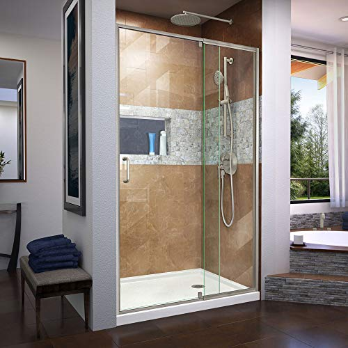 Flex 38-42 in. W x 72 in. H Semi-Frameless Pivot Shower Door in Brushed Nickel, SHDR-2242720-04