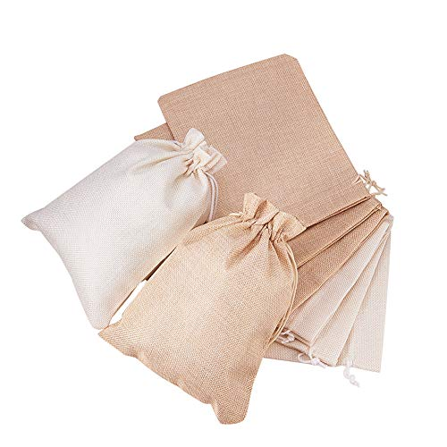 BENECREAT 24Pack Large Size Burlap Bags with Drawstring Gift Bags Jewelry Pouch for Wedding Party and DIY Craft Color Linen and Cream, 8.9 x 6.7 Inch