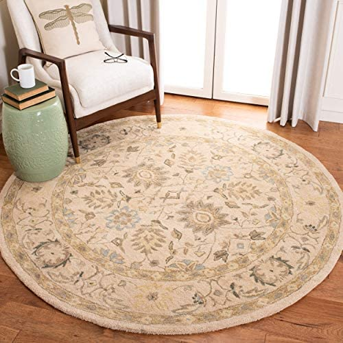 Safavieh Anatolia Collection AN572A Handmade Traditional Oriental Taupe and Blue Wool Round Area Rug 6' Diameter