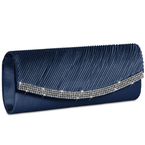 de Strass TA291 CASPAR Satén Colores Bolso Mano Mujer con Azul Clutch de Fiesta Varios Oscuro para FwqPwf8
