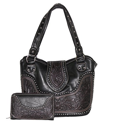 Concealed Carry Tooled Leather Shoulder Purse - Concealed Weapon Gun Bag w/ Matching Wallet By Montana West (Black)
