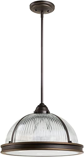 Sea Gull Lighting 65062-715 Pratt Street Prismatic Three-Light Pendant with Clear Textured Glass Diffuser and Clear Ribbed Glass Shade, Autumn Bronze Finish