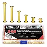 Hilitchi 120-Sets M5 x 5 / 10 / 15 / 25 / 35 / 45 Brass Plated Phillips Chicago Screw Posts Binding Screws Assortment Kit for Scrapbook Photo Albums Binding, Leather Repair - Gold