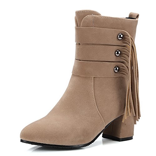 AllhqFashion Women's Solid Kitten-Heels Pointed Closed Toe Imitated Suede Zipper Boots, Beige, - Stores New Florida Mall