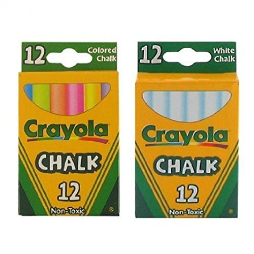 Crayola Chalk White & Colored 12-Pack (1 Pack of White & 1 Pack of Colored)