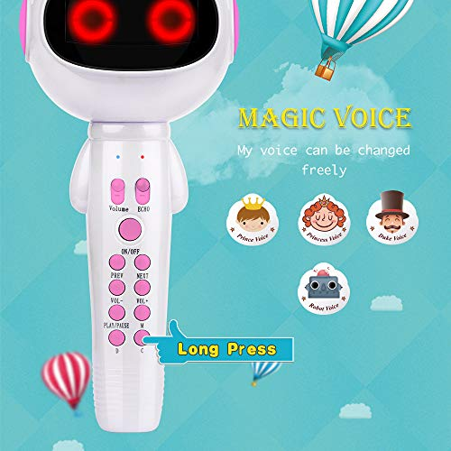 BONAOK Kids Wireless Bluetooth Karaoke Microphone with Magic Sound & Colorful LED light, 5 in 1 Portable Handheld Party Karaoke Speaker Machine Birthday Gift for Android/iPhone/iPad/PC (pink) by BONAOK (Image #1)