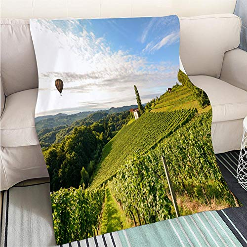 BEICICI Custom homelife Abstract Home Decor Printing Blanket Vineyards with hot air Balloon Near a Winery Before Harvest in The Tuscany Wine Hypoallergenic - Plush Microfiber Fill - Machine Washable
