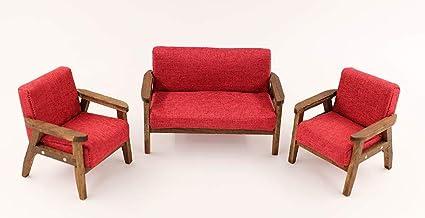 Amazon.com: nanguawu Wood 3pcs Sofa Chair in Claret-Red ...