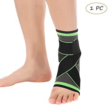 Houlife Men & Women Ankle Support Brace Foot Compression Sleeve with Adjustable Straps for Running,