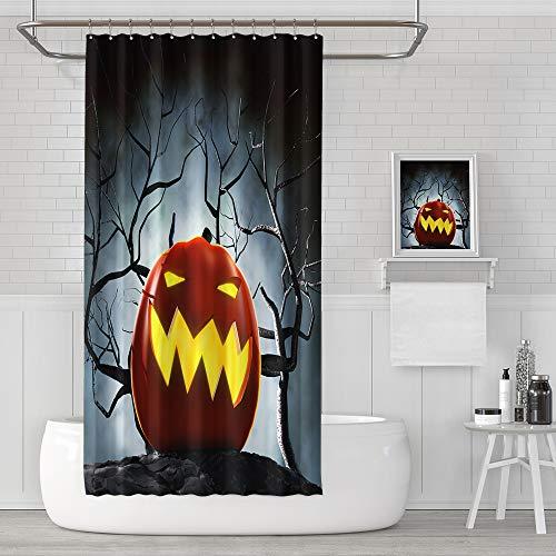 HIYOO Bathroom Polyester Fabric Waterproof Shower Curtain, Halloween