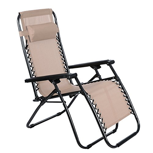 YUEBO Zero Gravity Chair Folding Recliner Chair, Textoline Lawn Recliner Sun Lounger with Adjustable Pillow for Indoor & Outdoor For Sale