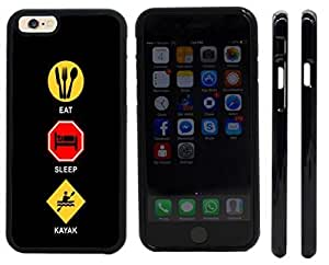 Rikki KnightTM Eat Sleep Kayak Design iPhone 6 Case Cover (Black Rubber with front bumper protection) for Apple iPhone 6
