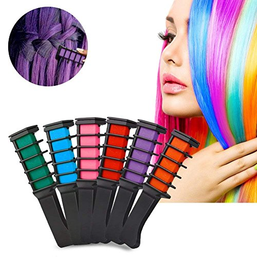 Hair Chalk Comb Set, FOXTSPORT 6 Colors Temporary Hair Color Cream Dye Hair DIY 6Pcs by FOXTSPORT