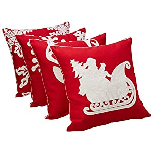 sykting Throw Pillow Case 18×18 Christmas Pillow Cover Set of 4 Pillow Cases Home Car Decorative