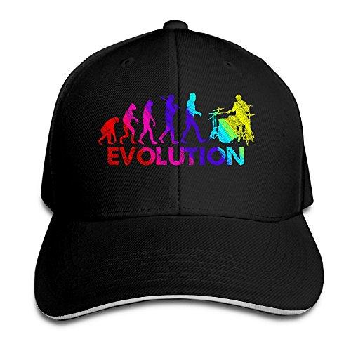Evolution Funny Cap (Sandwich Cap Drummer Evolution Funny Music Humor Drums Durable Baseball Cap Hats Adjustable Peaked Trucker Cap)