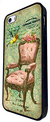 534 - Vintage Shabby Chic Victorian Sofa Bird Floral Roses Design iphone SE - 2016 Coque Fashion Trend Case Coque Protection Cover plastique et métal - Noir
