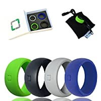 FORS Silicone Wedding Rings - Men's and Women's - 4 Pack of Rings with Exclusive Gift Box and Product Pouch - Ergonomic Durable Wedding Band Designed for the Active Individual