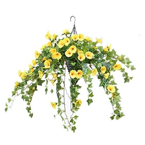 Mynse Hanging Artificial English Ivy Plant for Home Veranda Decoration Hanging Basket Artificial Silk Morning Glory Flower Vines Yellow