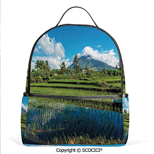 Hot Sale Backpack outdoor travel Idyllic View of Mayon Volcano Mountain in Philippines Tropical Landscape Decorative,Blue Green White,With Water Bottle ()