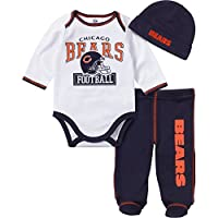 NFL Chicago Bears Long Sleeve Bodysuit, Footed Pant & Cap Set (3 Piece), 0-3 ...