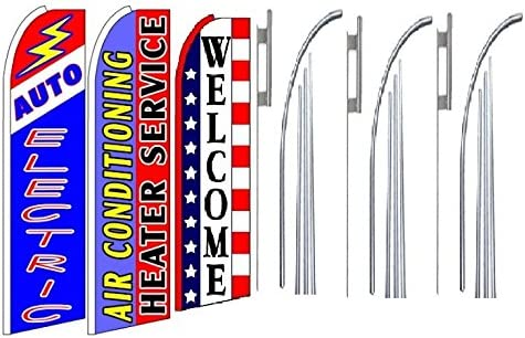 Pack of 3 airconditioning,heater service Welcome King Swooper Feather Flag Sign Kit With Pole and Ground Spike Auto electric