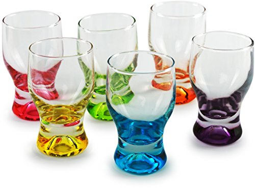 Circleware 42796 Shot, Set of 6, Heavy Base Glassware Drinking Whiskey Glass Cups for Vodka, Brandy, Bourbon & Best Selling Liquor Beverage Dining Décor Gifts, 1.7 oz, Tipsy Colors