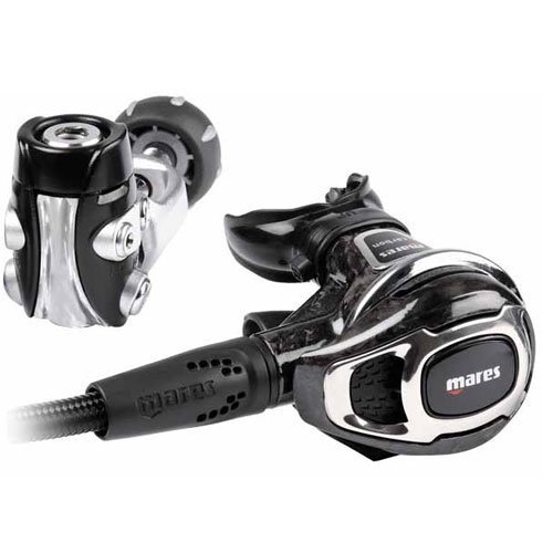 (MARES CARBON 52 YOKE REGULATOR SET BLACK SCUBA DIVING GEAR )