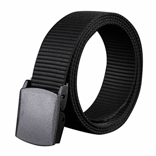 (Mens Causal Belt Solid Color Canvas Wide Girdle Waistband with Plastic Automatic Buckle for Jeans Pants (Black))