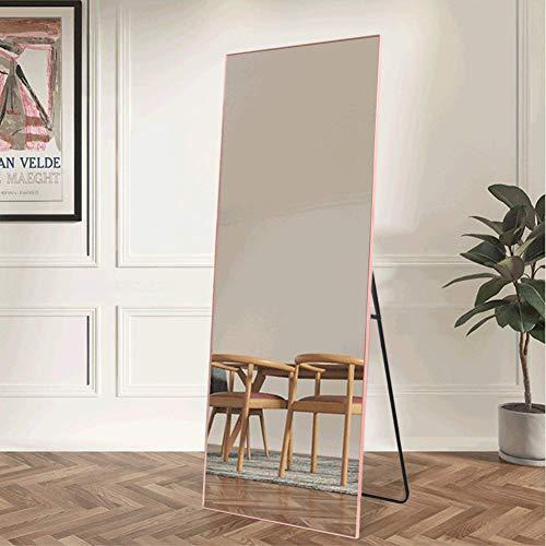 NeuType Full Length Mirror Floor Mirror with Standing Holder Bedroom/Locker Room Standing/Hanging Mirror Dressing Mirror (Rose Gold) (Mirror Floor Pink)