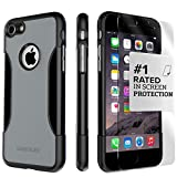 iPhone 8 Case and 7 Case, SaharaCase Protective Kit Bundle with [ZeroDamage Tempered Glass Screen Protector] Rugged Protection Anti-Slip Grip [Shockproof Bumper] Slim Fit - Black Gray