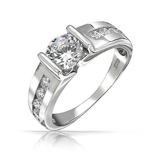 (Deco Style 1.5CT Brilliant Round Solitaire U set Channel set Band AAA CZ Engagement Ring For Women 925 Sterling)