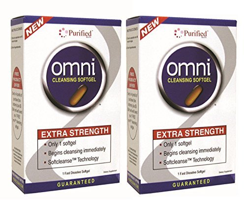 Omni Cleansing Drink Extra Strength - Omni Cleansing Softgel - Extra Strength Cleansing Immediately, 1 Fast Dissolve Softgel,(Puri-Clean) (2 Pack)