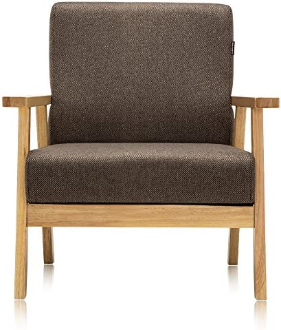 Krei Hejmo Vintage Brown Wooden Small Low-Seat Armchairs Sofa Couch