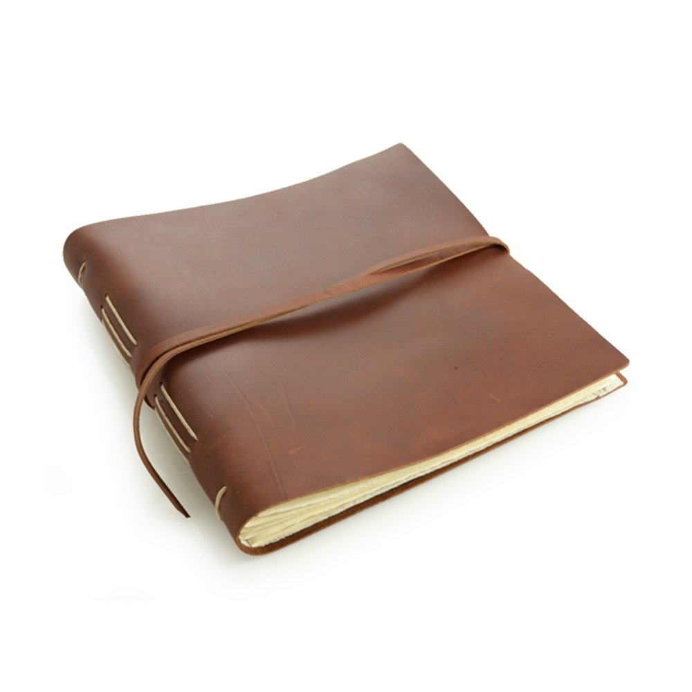 Rustic Leather Album - The ''Big Idea'' - 160 Blank Photo Pages - Saddle Brown