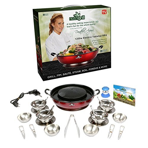 NutriGrill Electric BBQ Cooker Grill Pan with Accessories
