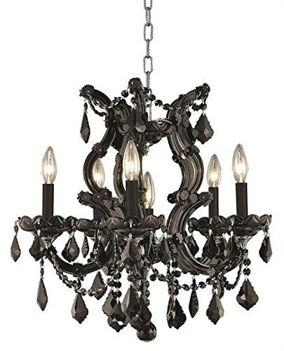 - Karla Black Traditional 6-Light Hanging Chandelier Heirloom Handcut crystal in Jet (Black)-2380D20B-RC--20
