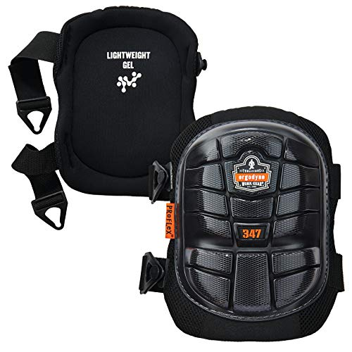 (Ergodyne ProFlex 347 Professional Knee Pads,  Protective Long Cap, Lighweight Gel Padded Technology, Adjustable Straps, Black)
