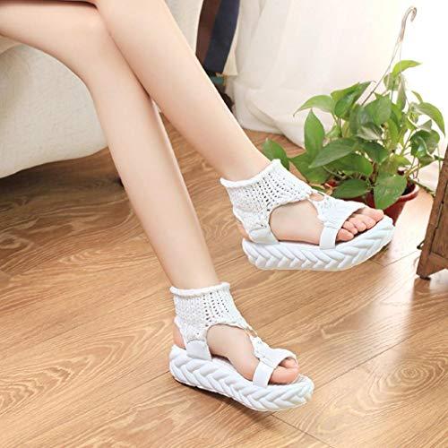 Casual Tongs Chaussures Plat Elégante Chaussures Femmes Sandales Tricots Pour Sandal Été Élégant Compensée Avec Blanc Talon Plaques Vicgrey HqROvO