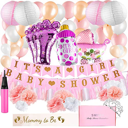 Baby Shower Decorations for Girl Kit: Pink, White, and Champagne Gold Party Decor - Its A Girl Banner, Balloons, Tissue Paper Pom Poms and Hanging Lantern Decoration Bundle - Includes Sash and Tiara]()